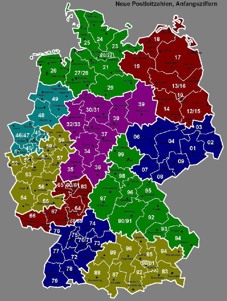 Karte Postleitzahlen Deutschland - deutschlandkarte - Bundesrepublik Deutschland Bundesländer Karte